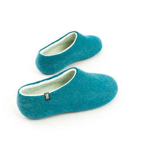 Womens felt slippers BLISS azure blue by Wooppers d
