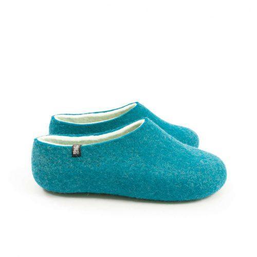 Womens felt slippers BLISS azure blue by Wooppers e