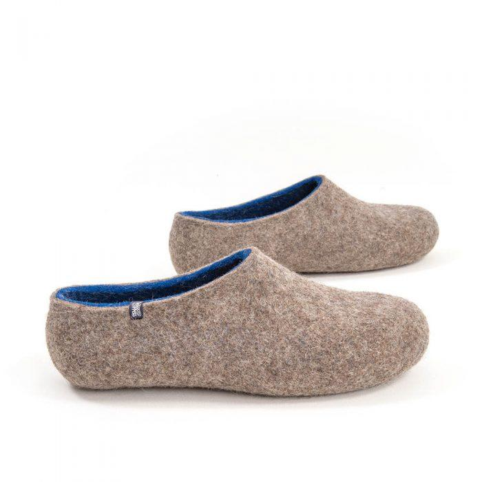 Gray Felted Wool Slippers For Men with Green Inner Layer Handmade in Europe