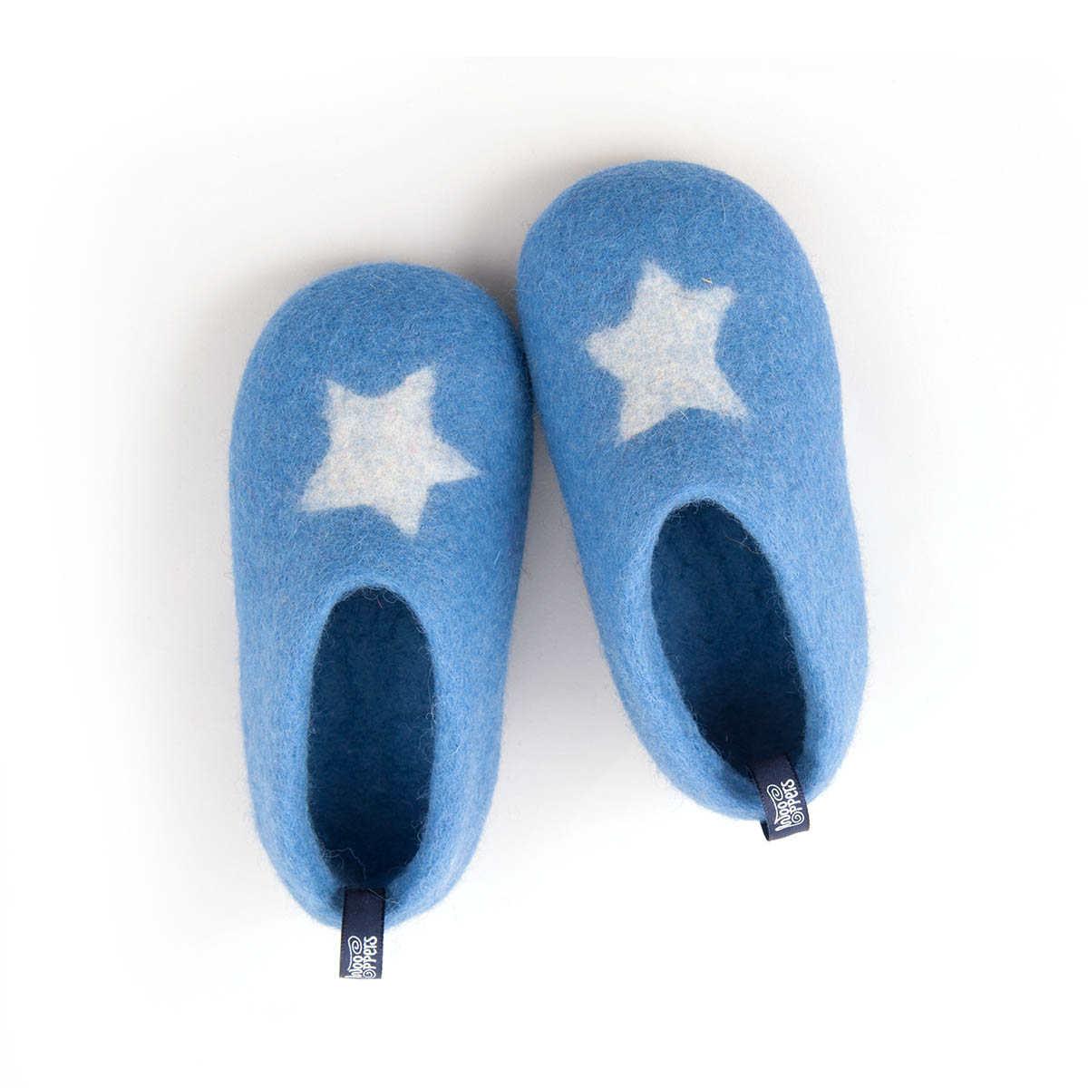 Kids + toddler slippers STAR light blue
