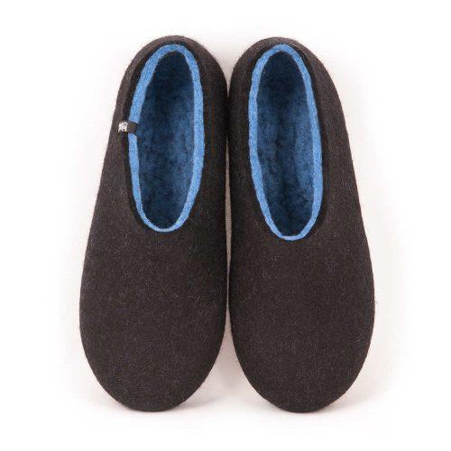felt slippers by Wooppers DUAL BLACK sky blue, men's slippers-a