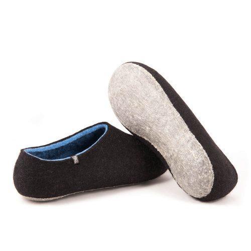 felt slippers by Wooppers DUAL BLACK sky blue, men's slippers-b