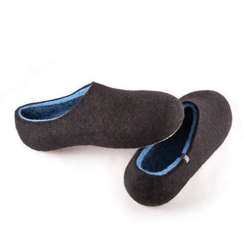 felt slippers by Wooppers DUAL BLACK sky blue, men's slippers-c