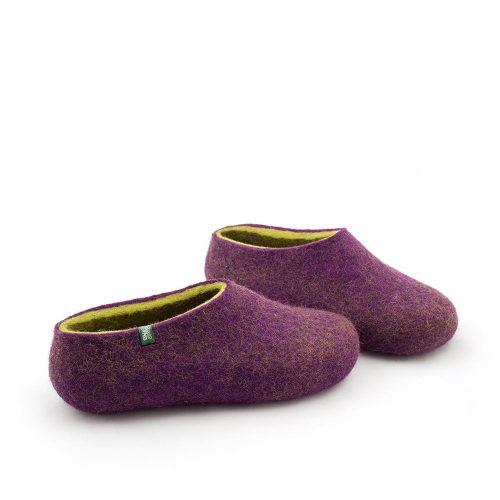 Women's clogs, felted slippers by Wooppers aubergine lime-b
