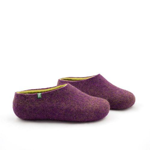 Women's clogs, felted slippers by Wooppers aubergine lime-d