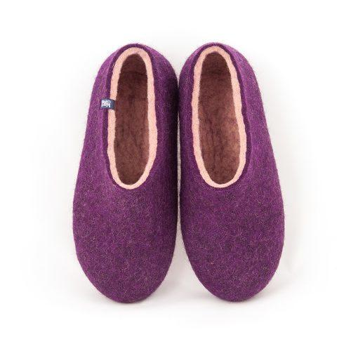 Aubergine slippers from the new Dual Purple Wooppers collection