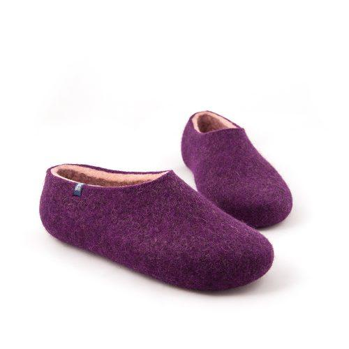 Aubergine slippers from the new Dual Purple Wooppers collection -b