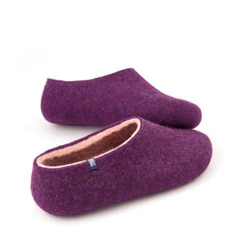 Aubergine slippers from the new Dual Purple Wooppers collection -c