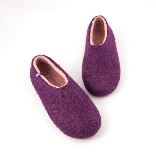 Aubergine slippers from the new Dual Purple Wooppers collection -