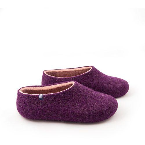 Aubergine slippers from the new Dual Purple Wooppers collection -e
