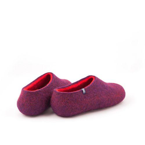 Winter slippers purple with red by Wooppers felted slippers d