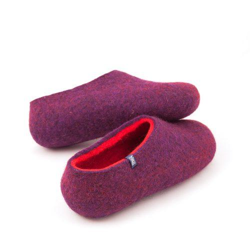 Winter slippers purple with red by Wooppers felted slippers f