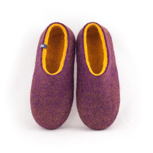 Wool clogs purple and yellow by Wooppers felted slippers