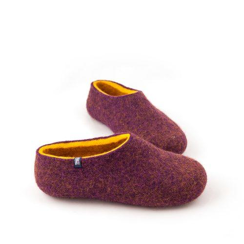 Wool clogs purple and yellow by Wooppers felted slippers -b