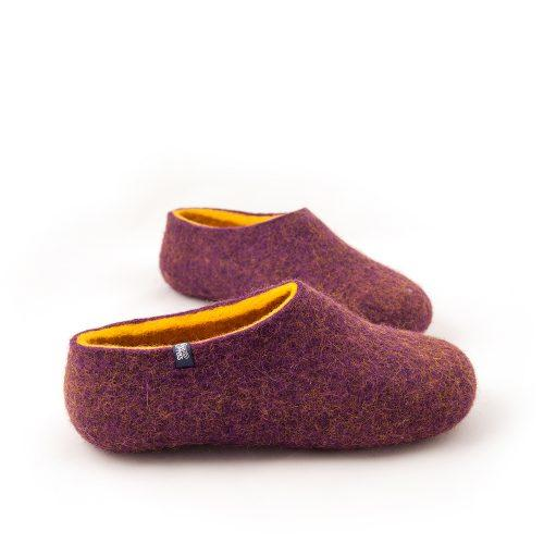Wool clogs purple and yellow by Wooppers felted slippers -c