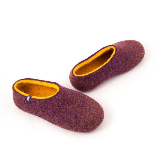 Wool clogs purple and yellow by Wooppers felted slippers -d