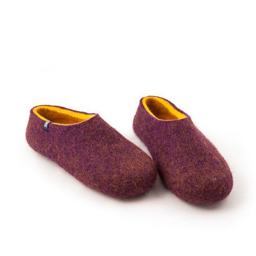 Wool clogs purple and yellow by Wooppers felted slippers -e