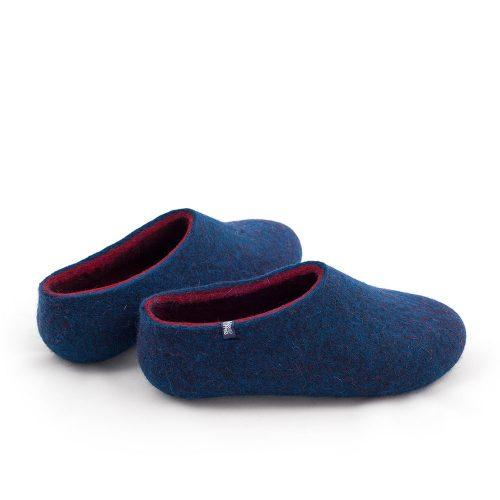 blue wool slippers DUAL with burgundy red -d
