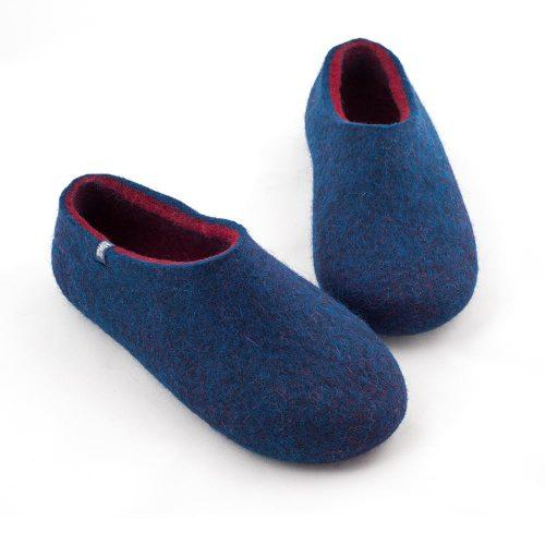 blue wool slippers DUAL with burgundy red -f