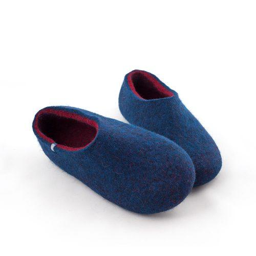 blue wool slippers DUAL with burgundy red -g