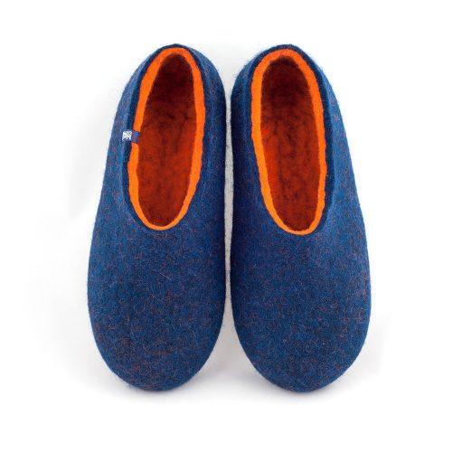 men's blue slippers with orange