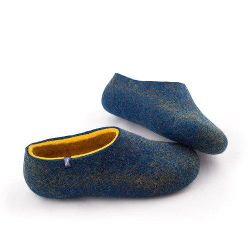 blue yellow slippers by Wooppers - DUAL BLUE collection -b