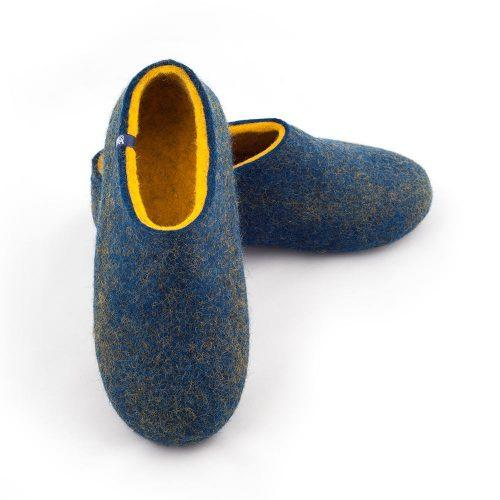 blue yellow slippers by Wooppers - DUAL BLUE collection -c