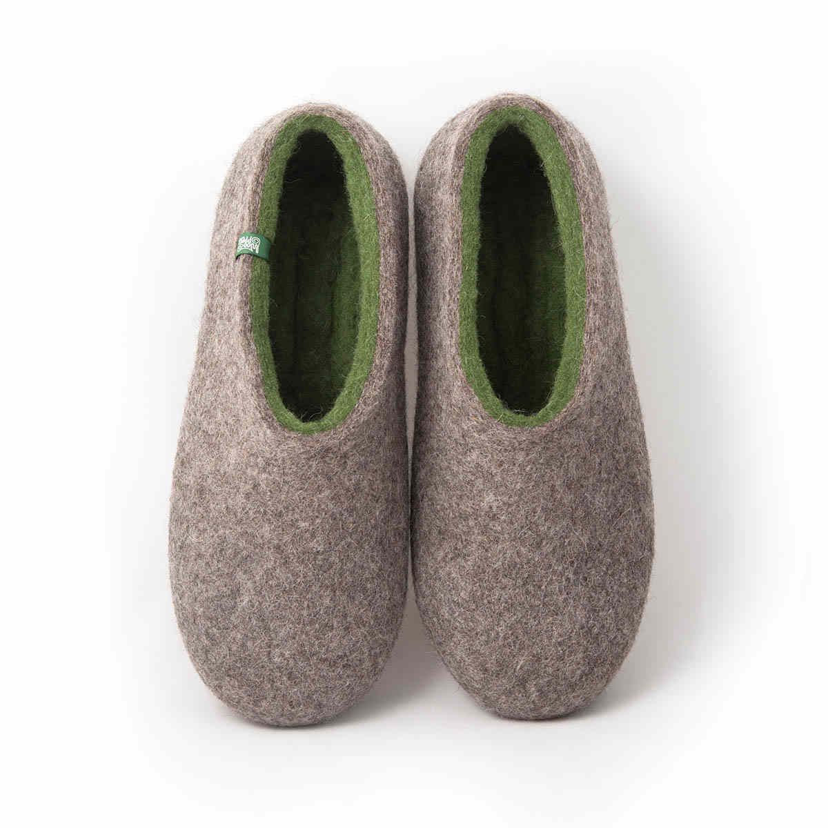 Mens wool clogs DUAL NATURAL olive green