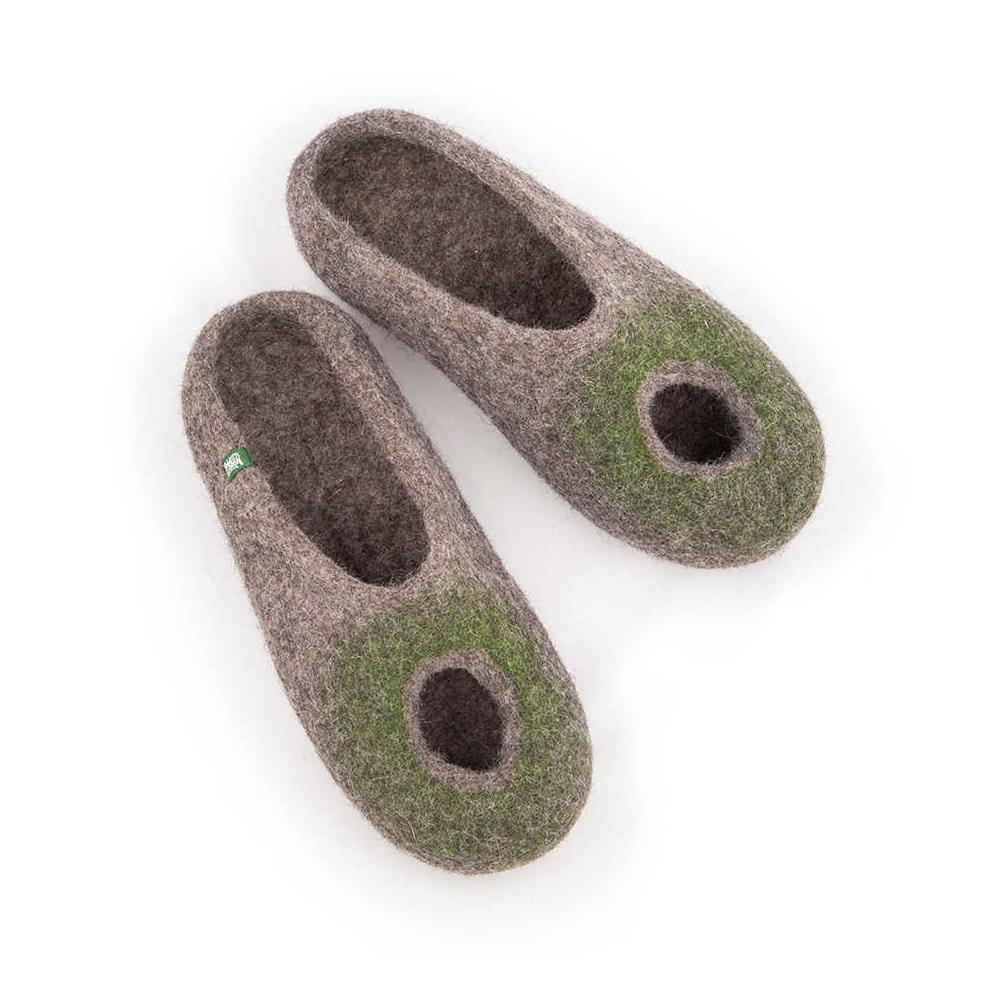 OMICRON olive green summer felted slippers