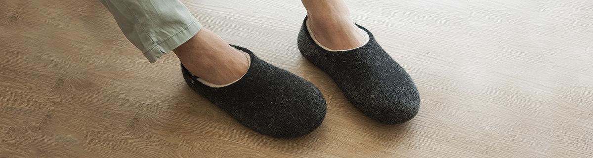Mens slippers by Wooppers felted slippers, black with white interior