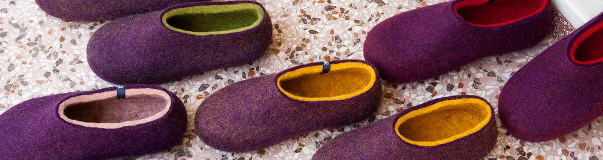 Womens purple slippers DUAL PURPLE collection by Wooppers wool slippers