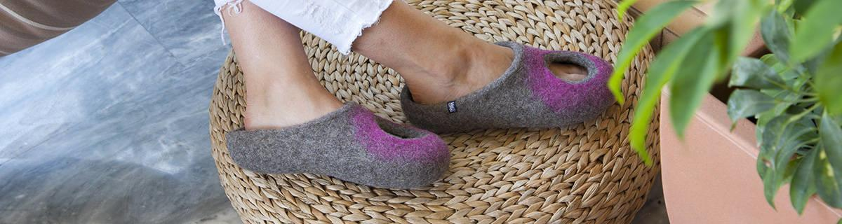 Summer slippers OMICRON collection by Wooppers wool slippers.