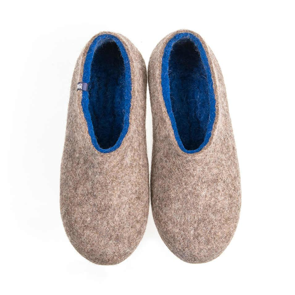 Blue felted slippers DUAL NATURAL blue