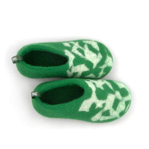 Kids house shoes BITS green by Wooppers