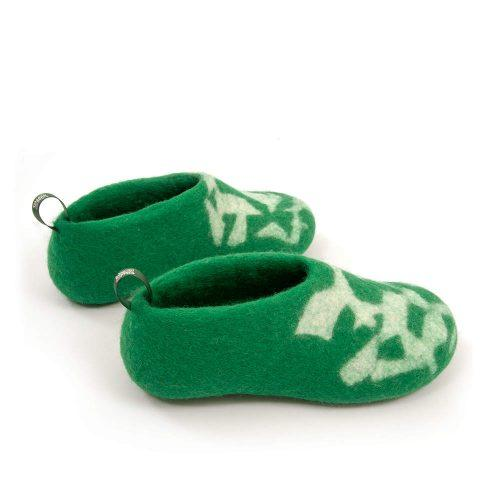 Kids house shoes BITS green by Wooppers b