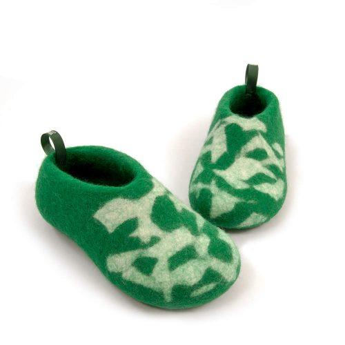 Kids house shoes BITS green by Wooppers e