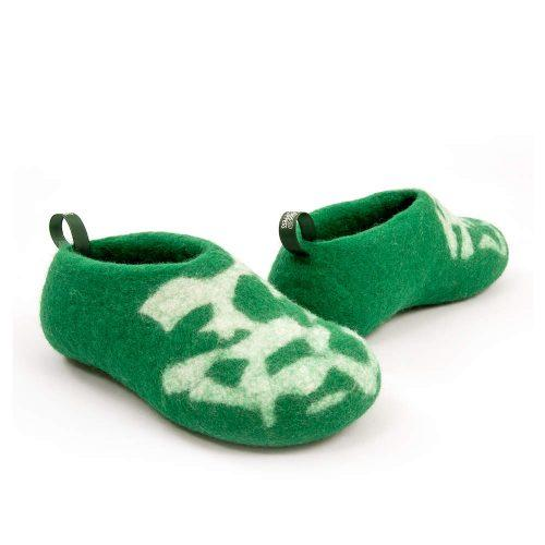 Kids house shoes BITS green by Wooppers f