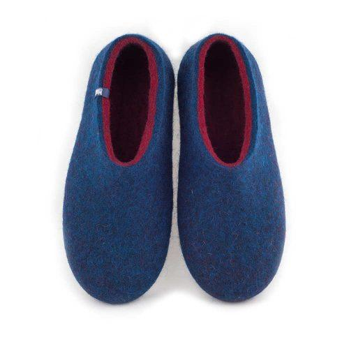 blue wool slippers DUAL with burgundy red -a