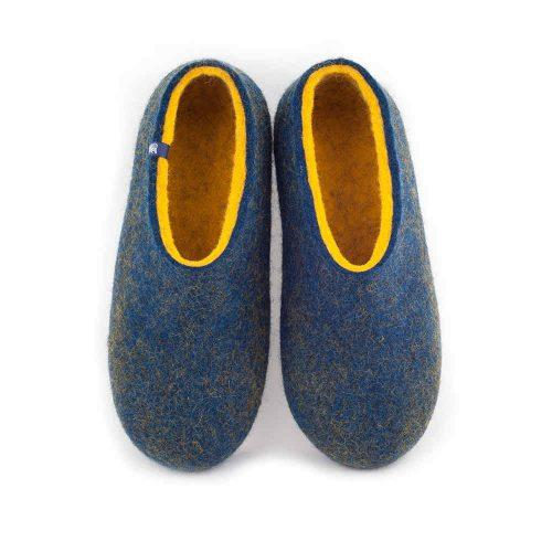 blue yellow slippers by Wooppers - DUAL BLUE collection -a