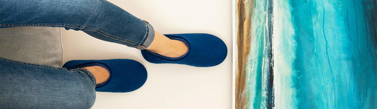 Παντόφλες μάλλινες από τη συλλογή DUAL Blue της Wooppers -