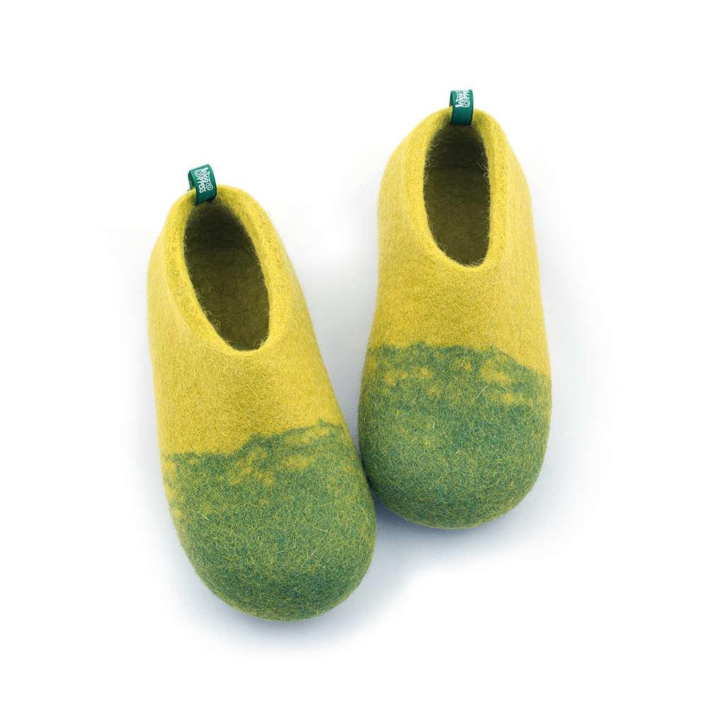 Kids wool slippers DUO lime green