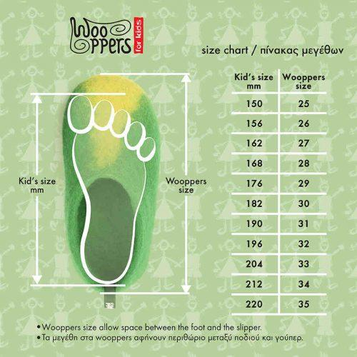 kids size chart Wooppers felted slippers