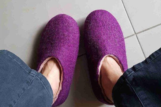 wash wooppers slippers - wearing them wet to restore their shape