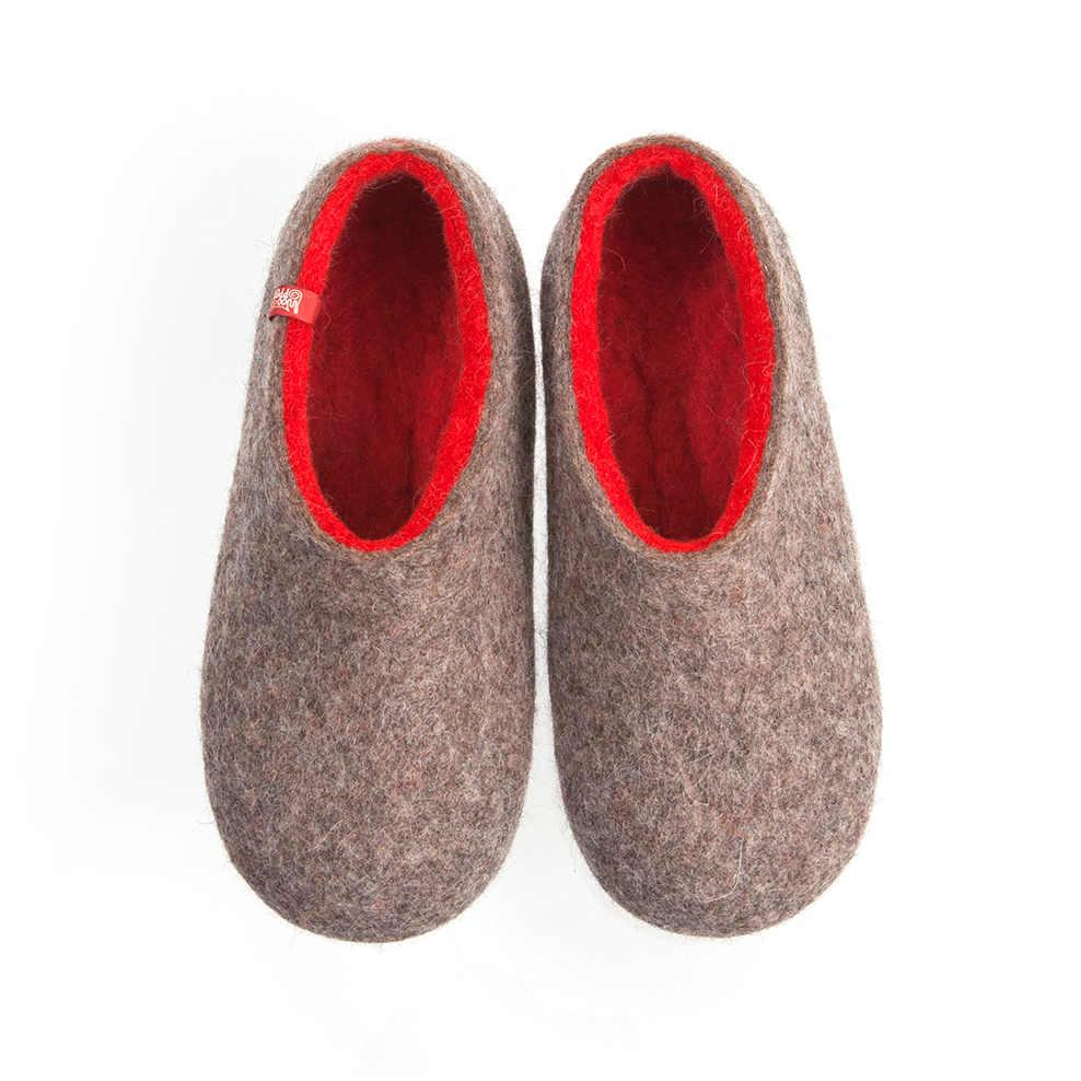 Wool slippers DUAL NATURAL gray red