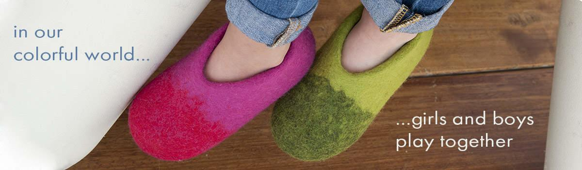 Kids wool slippers from the DUO collection by Wooppers