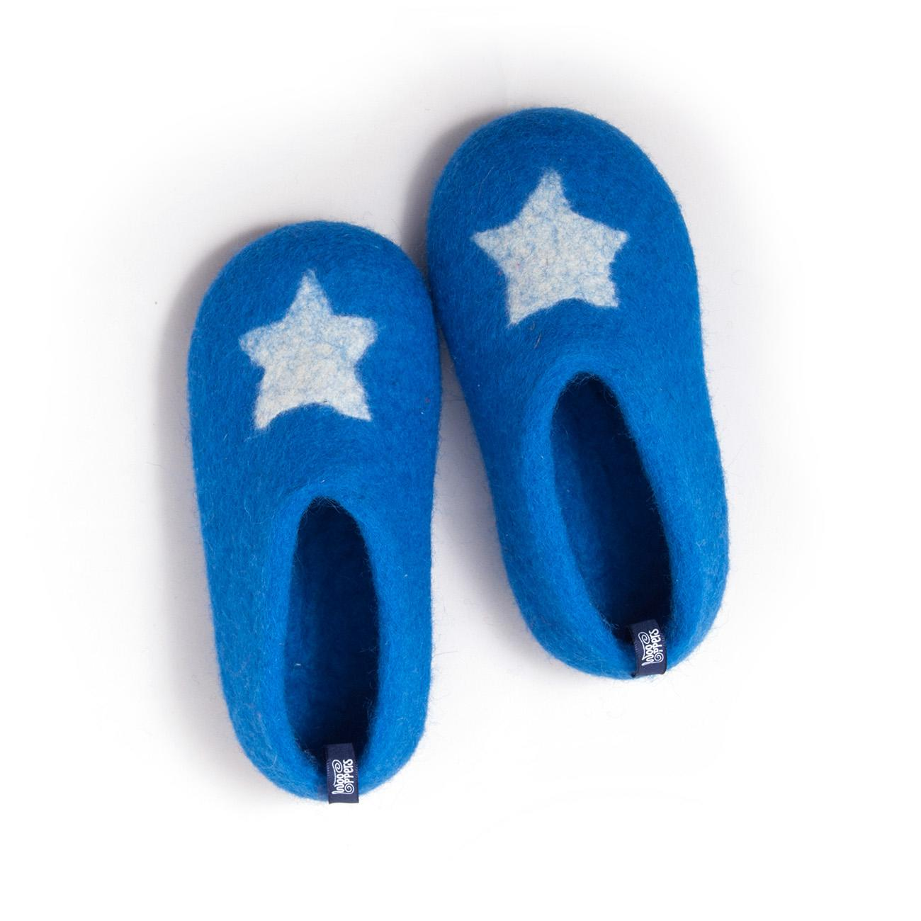 Little boys felt slippers STAR blue