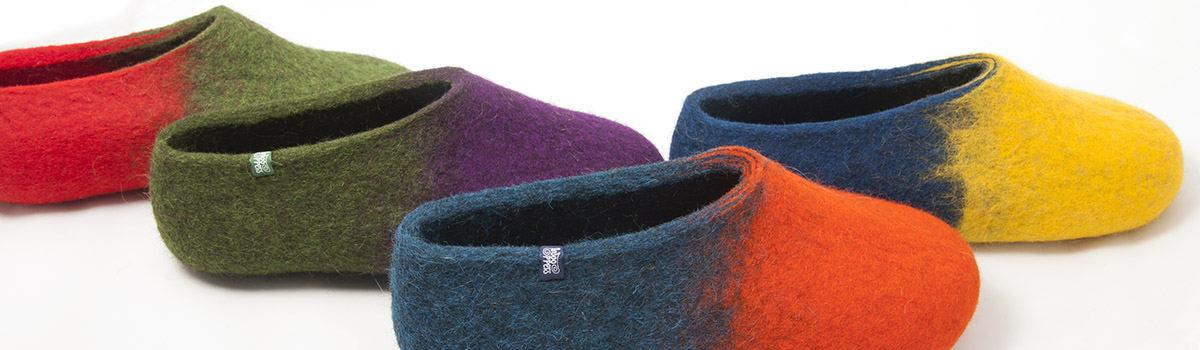 JAZZ collection felt colourful slippers for women