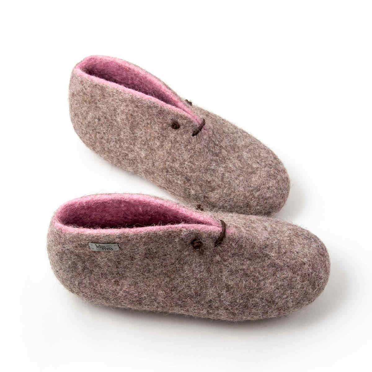Boot slippers in grey and pink