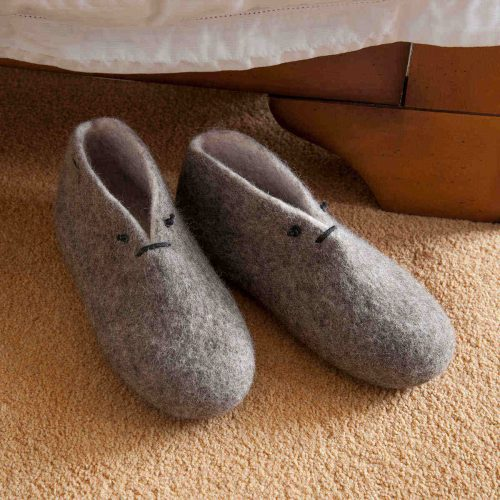 women's slipper boots BOOTIES grey white by Wooppers -aa