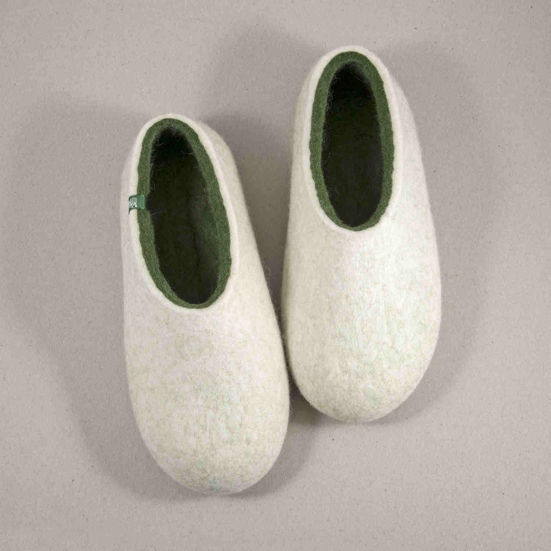 ARIA flat slippers white - green